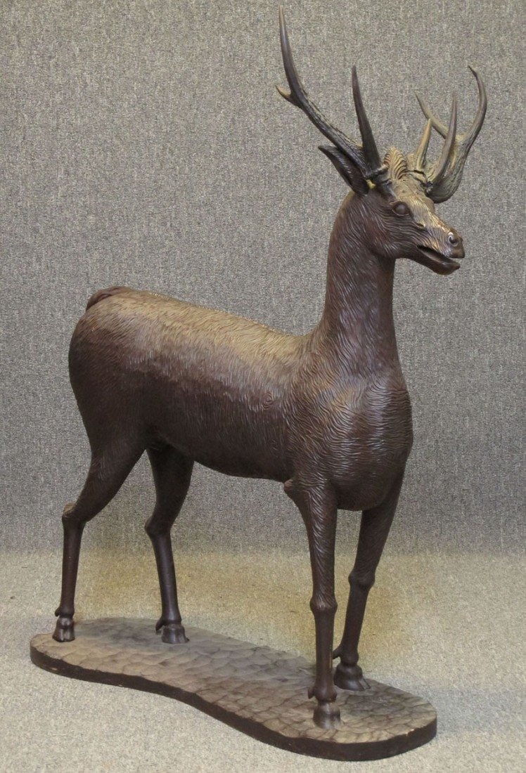 "BLACK FOREST STYLE CARVED STAG height- 54"", len"