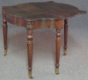 EARLY AMERICAN CARVED MAHOGANY FLIP TOP TABLE W
