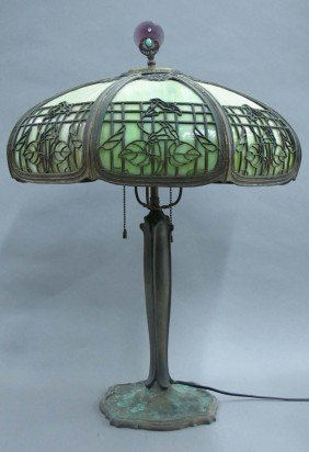 EARLY 20TH CENTURY SLAG PARLOR LAMP Diameter Of