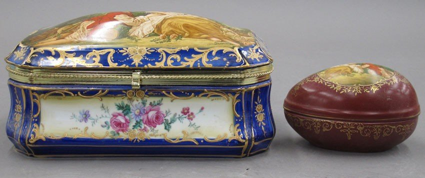 LOT OF (2) EUROPEAN PORCELAIN COVERED BOXES one