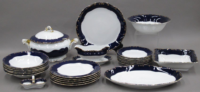 HUNGARIAN BLUE AND WHITE CHINA PARTIAL DINNER S