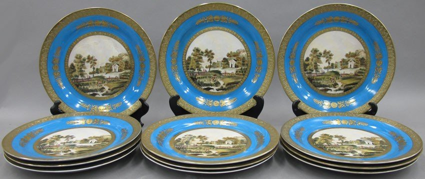 SET OF (12) SEVRES PAINTED CABINET PLATES diame