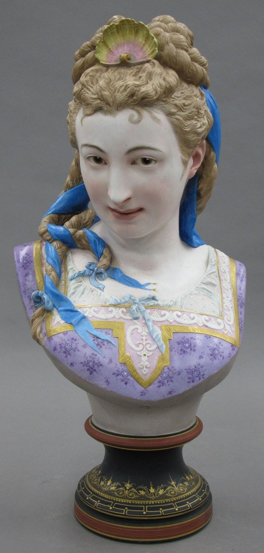 FRENCH BISQUE BUST OF WOMAN, signed A. Carrier