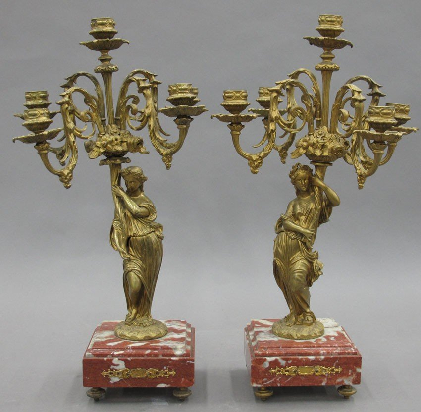 PAIR OF BRONZE CANDLEABRAS with marble base hei
