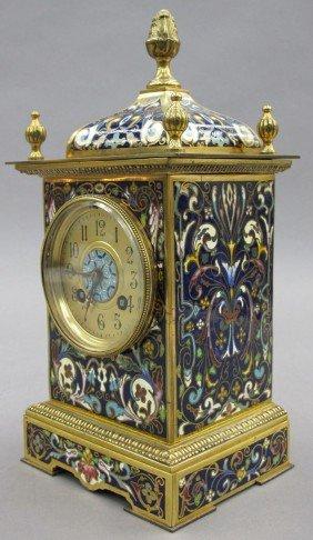 FRENCH BLUE ENAMELED CLOCK