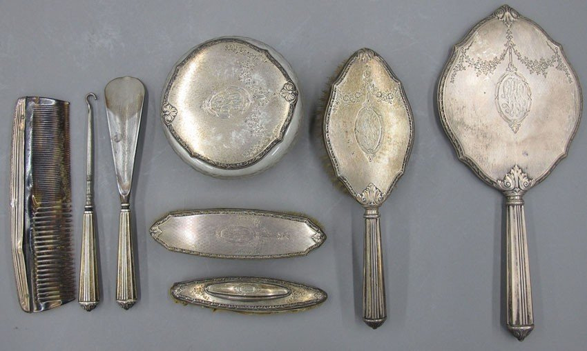 9611: STERLING SILVER DRESSER SET 8pcs. with basket
