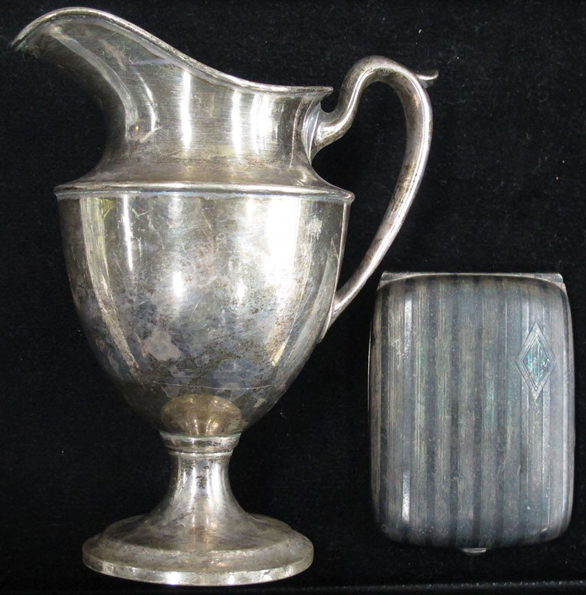 9135: LOT WITH STERLING SILVER PITCHER AND GERMAN SILVE