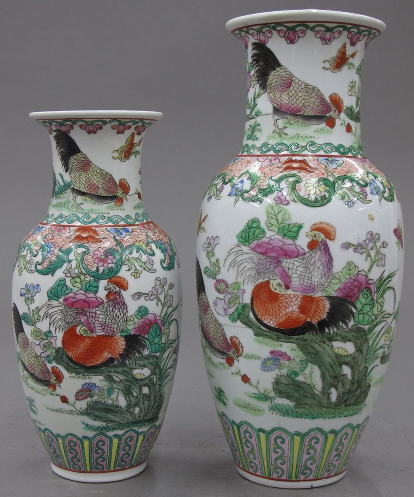 8501:  TWO MATCHING CHINESE PORCELAIN PAINTED VASES cir
