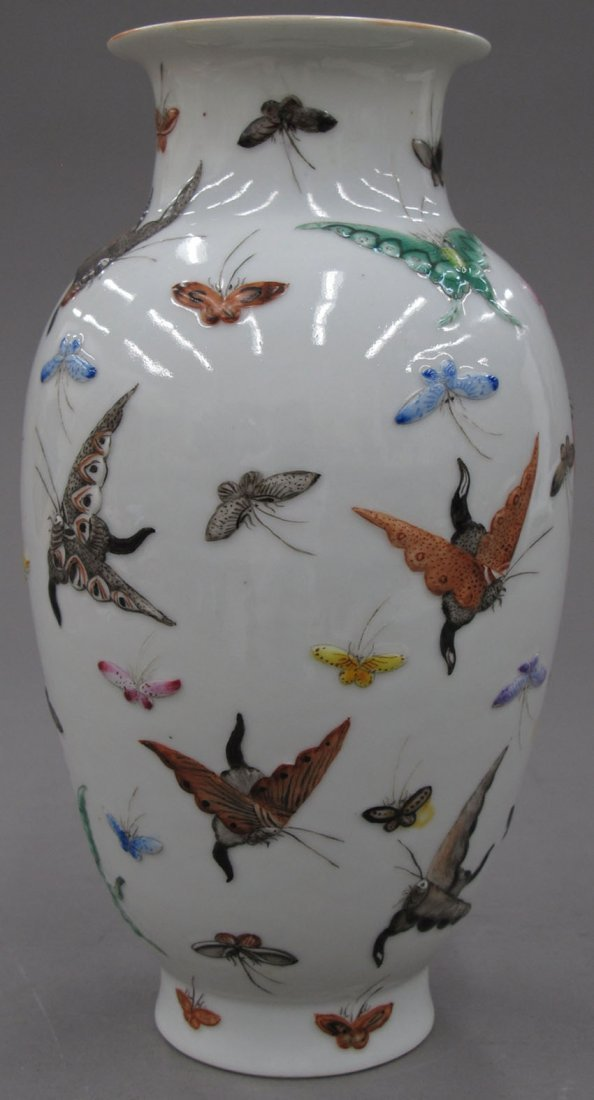 8503:  CHINESE PORCELAIN VASE with butterfly decoration