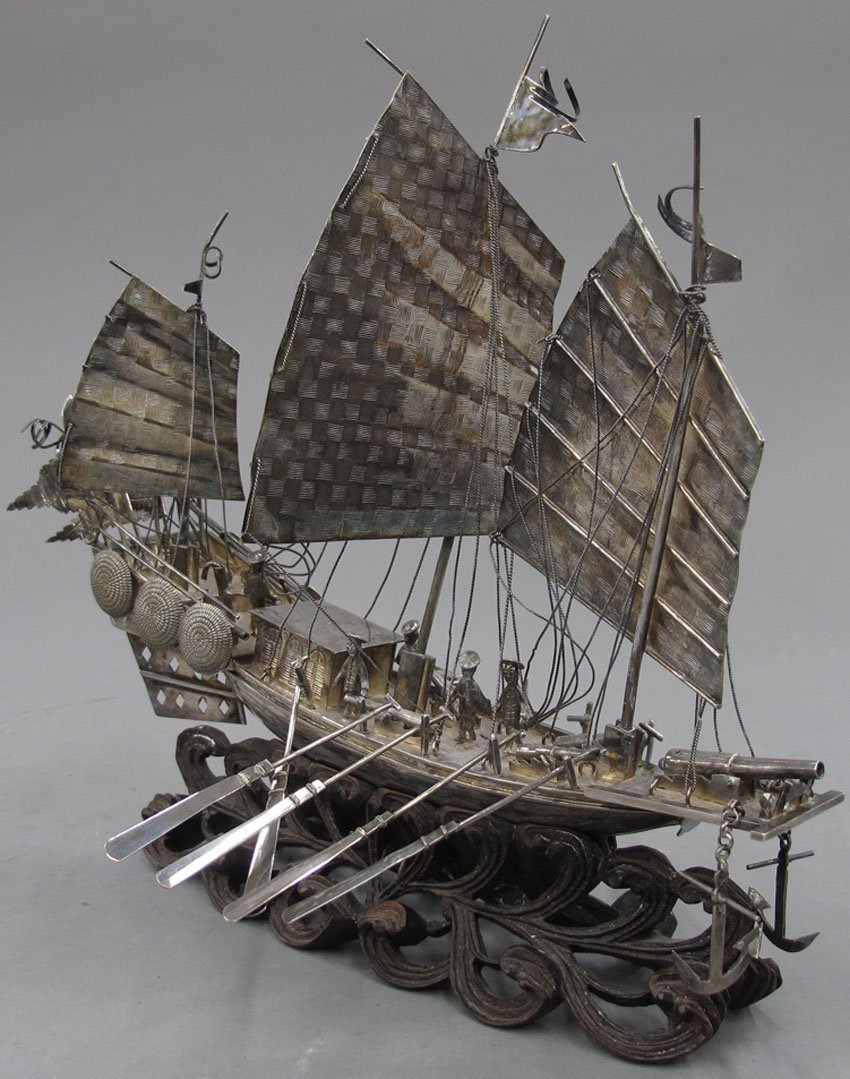 """8504:  CHINESE SILVER SHIP with stand length -8"""""""