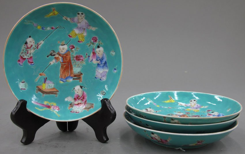 8506:  LOT OF (4) CHINESE PORCELAIN PLATES diameter- 6