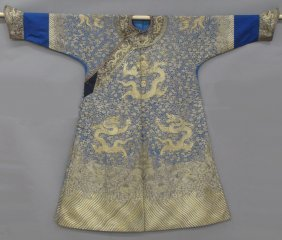 CHINESE IMPERIAL SILK AND EMBROIDERED ROBE With D