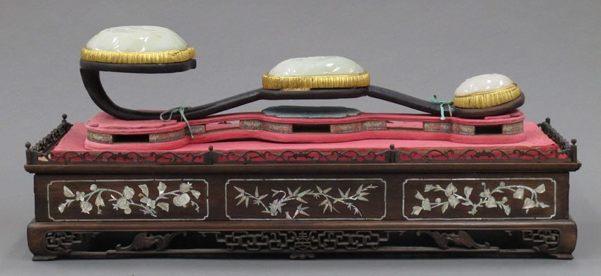 8581:  CHINESE WHITE CARVED JADE SCEPTER with inlaid mo