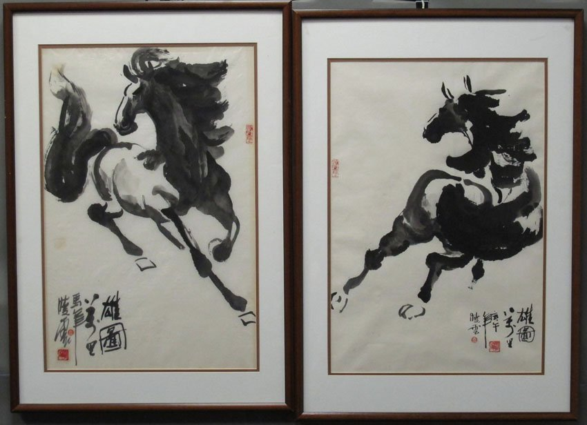8600:  LOT OF (2) CHINESE WATERCOLORS OF HORSES artist-