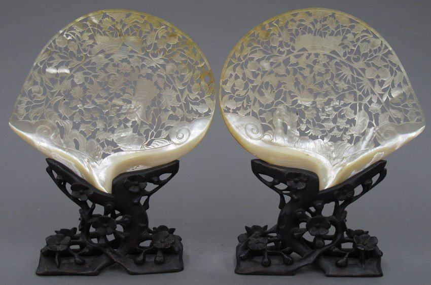 8601:  PAIR OF CHINESE ABALONE SHELL CARVINGS with stan