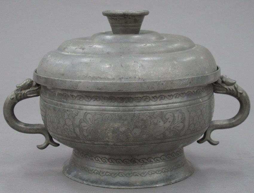 """8605:  CHINESE PEWTER CONTAINER height- 6 1/2"""""""