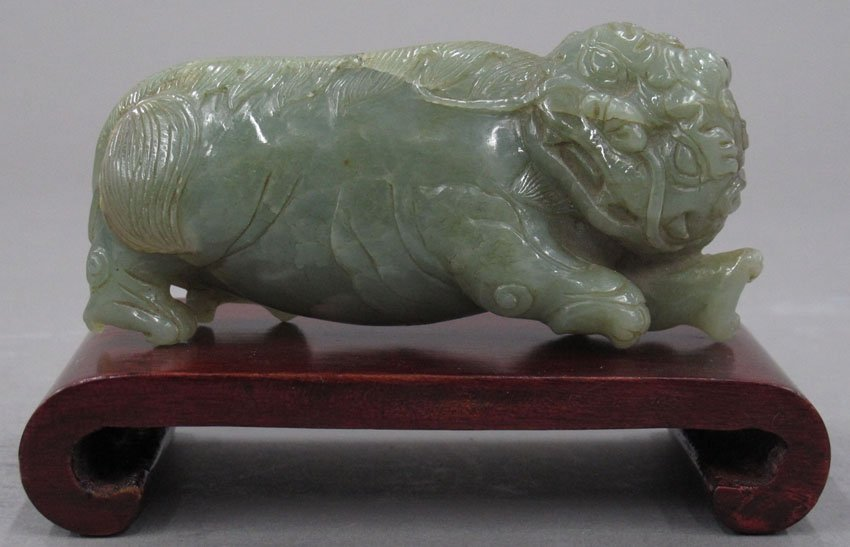8609:  CHINESE NEPHRITE FIGURE with stand length- 4 3/8