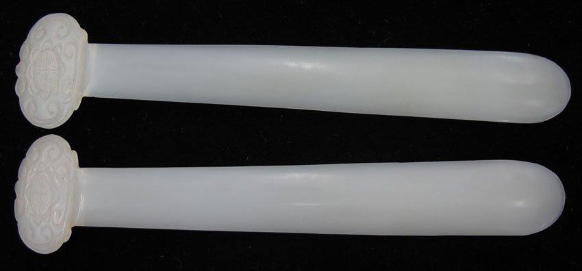 8615:  LOT OF (2) CHINESE WHITE JADE LADIES HAIR PINS c