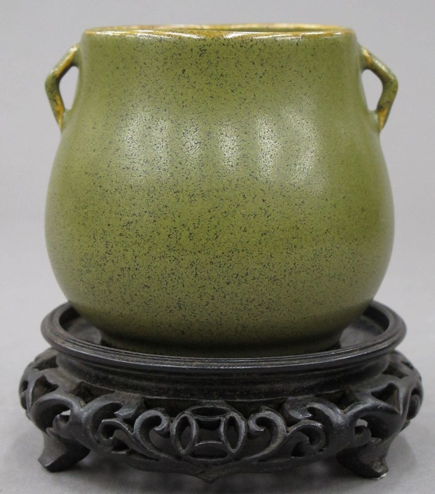 8618:  CHINESE MINIATURE TEA DUST COLOR POT with stand