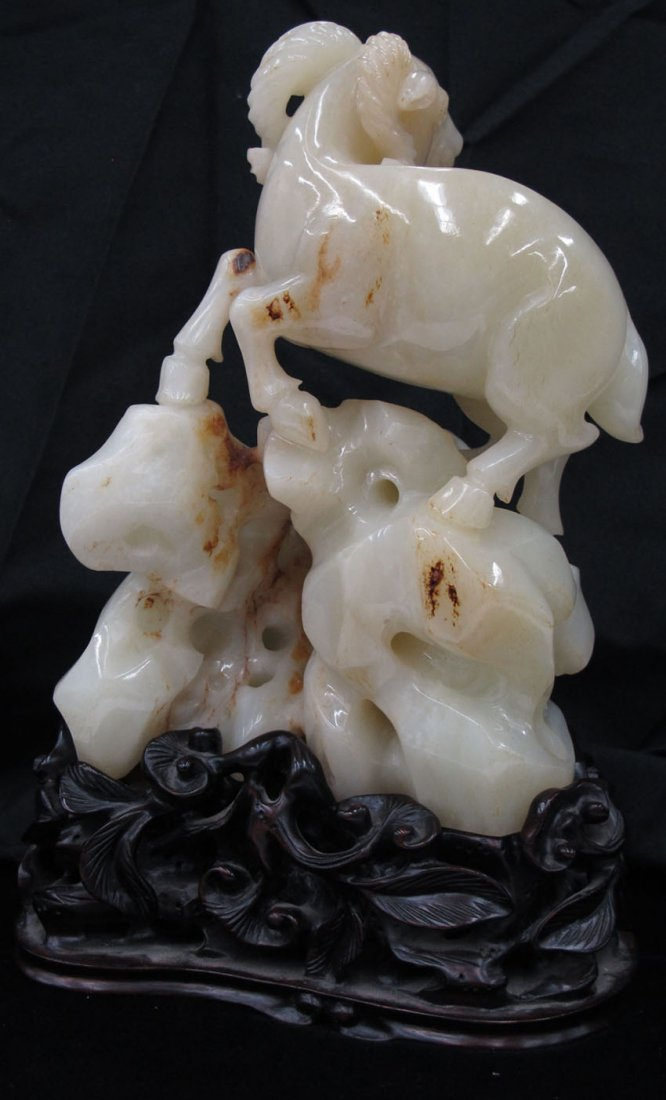 8670:  CHINESE JADE CARVING OF GOATS with carved stand  - 2