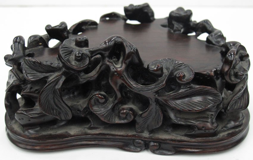 8670:  CHINESE JADE CARVING OF GOATS with carved stand  - 7