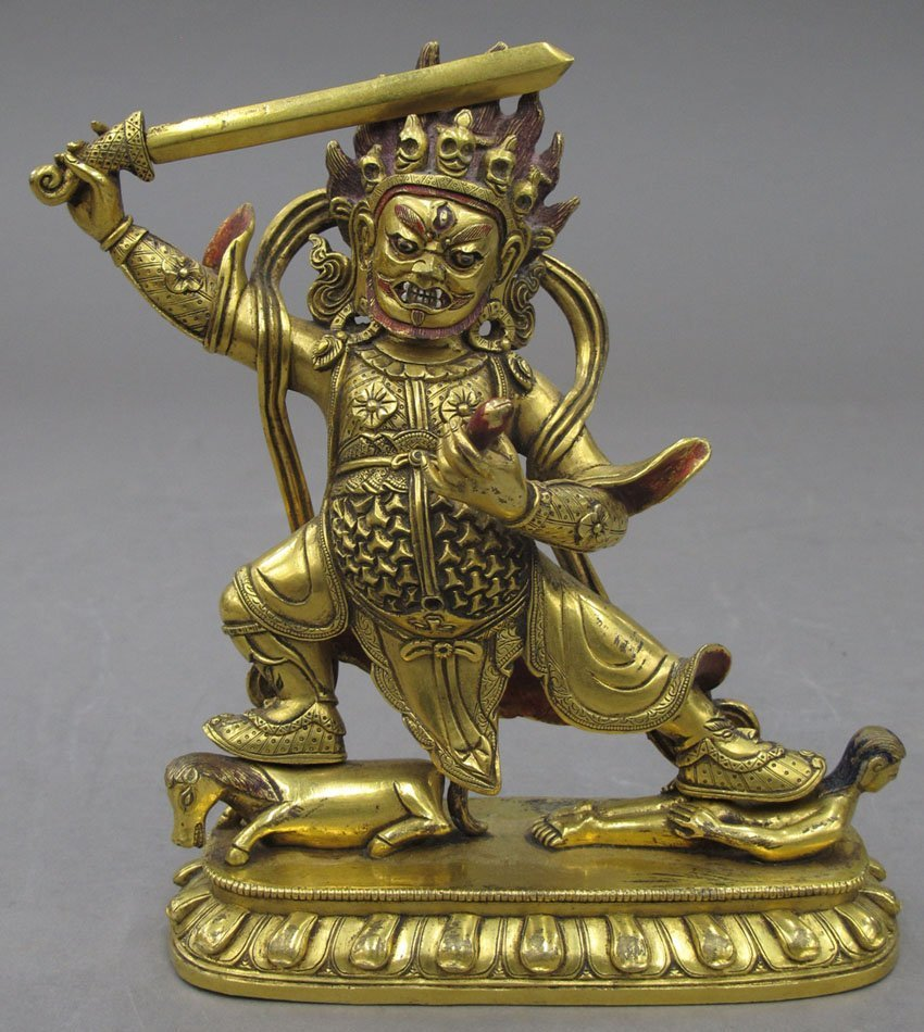 """8482: GOLD GILDED BUDDHA  with sword height- 7"""""""