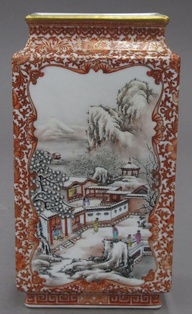 8486: CHINESE PORCELAIN RECTANGULAR VASE