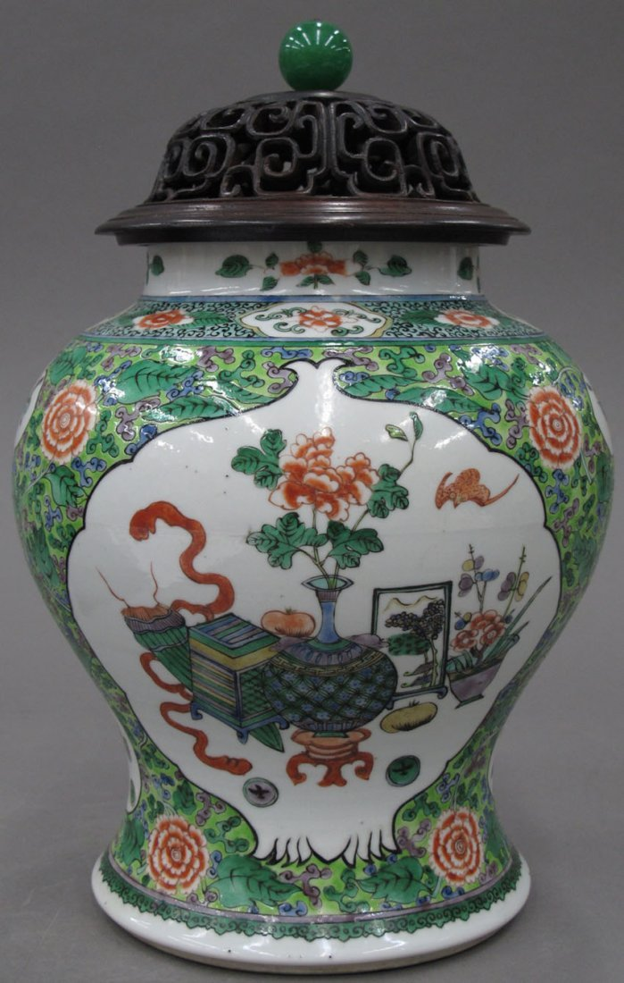 8489: CHINESE PORCELAIN PAINTED VASE with perforated li