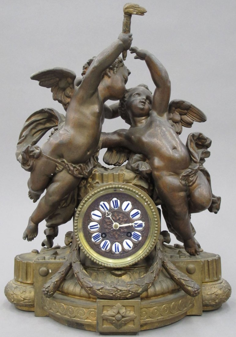 9038: FRENCH CAST METAL MANTEL CLOCK circa late 19th ce