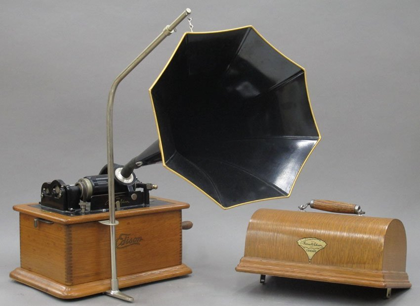 9062: EDISON OAK CYLINDER PHONOGRAPH model- Standard