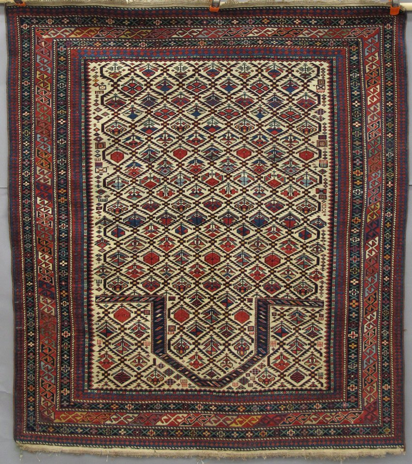 "9121: EARLY TRIBAL PERSIAN CARPET size- 49"" x 55"""