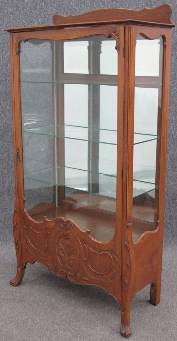 9134: AMERICAN OAK CHINA CABINET with claw feet height- - 2