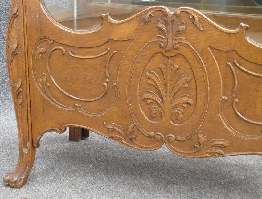 9134: AMERICAN OAK CHINA CABINET with claw feet height- - 3