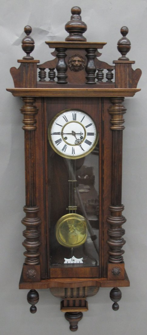 9146: GERMAN WALNUT REGULATOR WALL CLOCK length- 49""