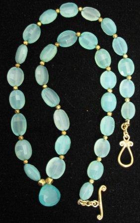 PERUVIAN OPAL NECKLACE WITH GOLD LINK CHAIN