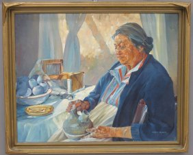 MARJORIE RODGERS OIL ON CANVAS Portrait Of Woman