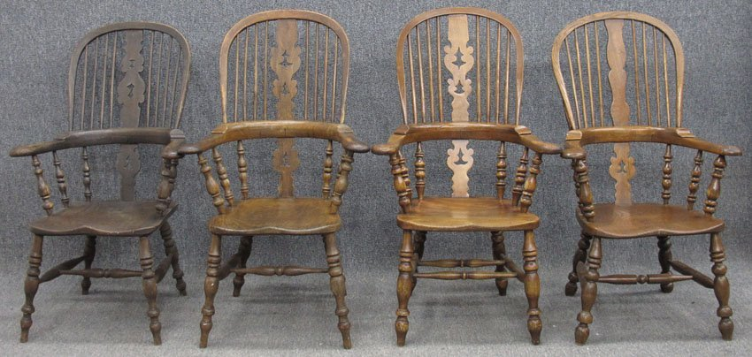 9174: LOT OF (4) ENGLISH COMBACK WINSOR ARM CHAIRS cir