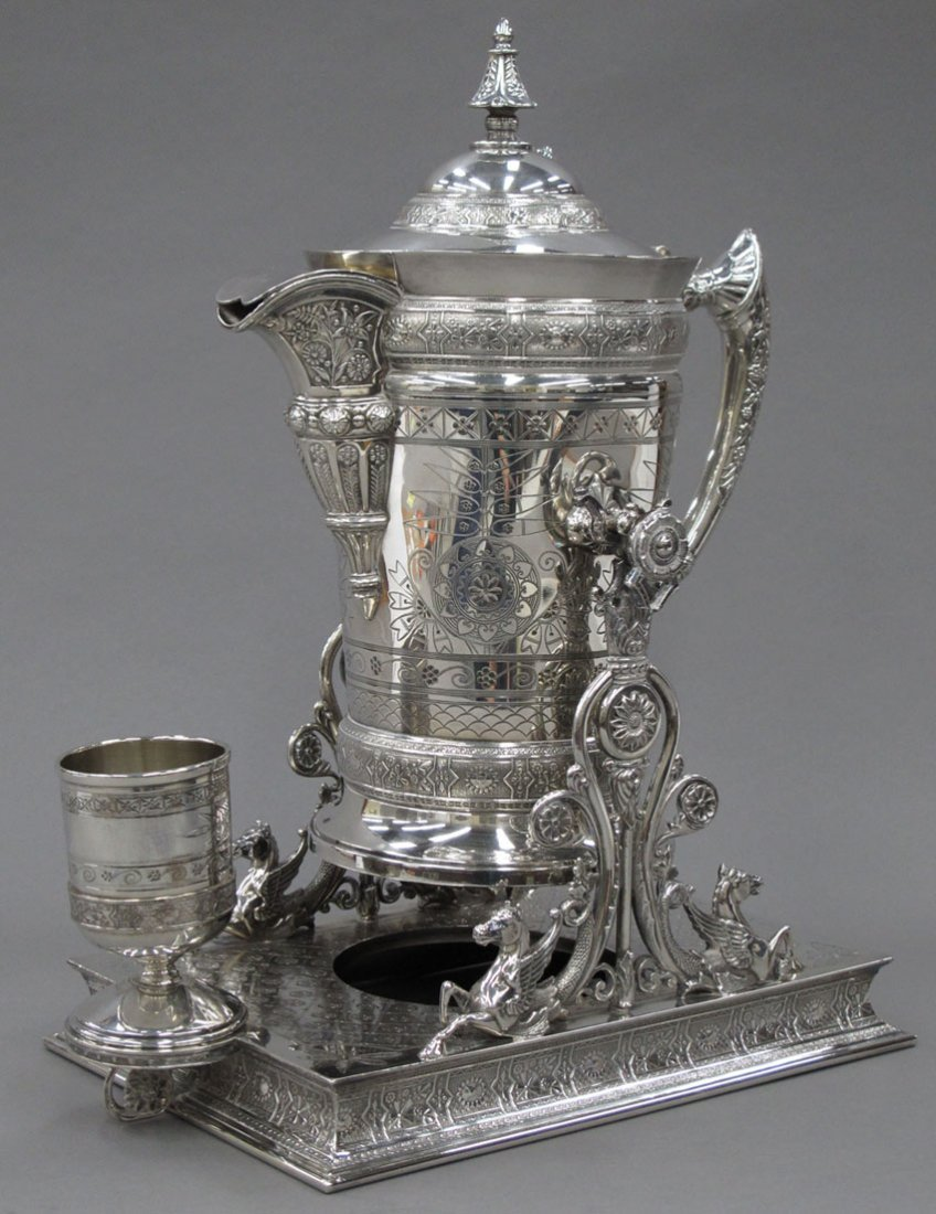 9186: VICTORIAN SILVER PLATED WATER PITCHER on stand pr