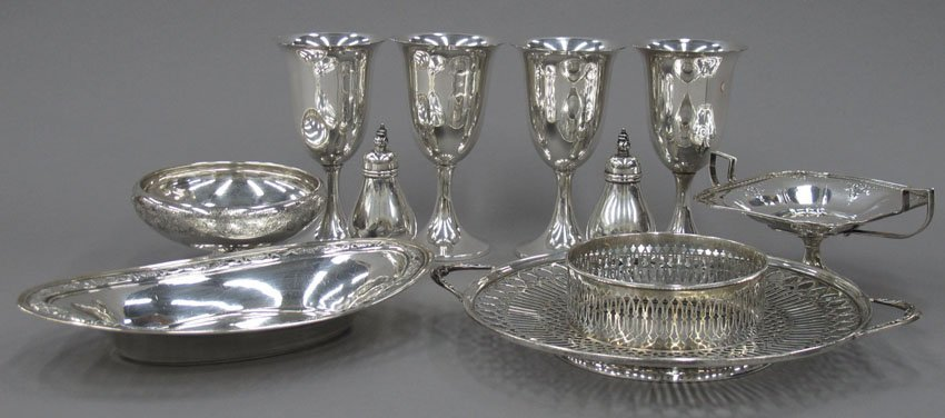 9188: LOT OF (10) STERLING SILVER ITEMS includes salts,
