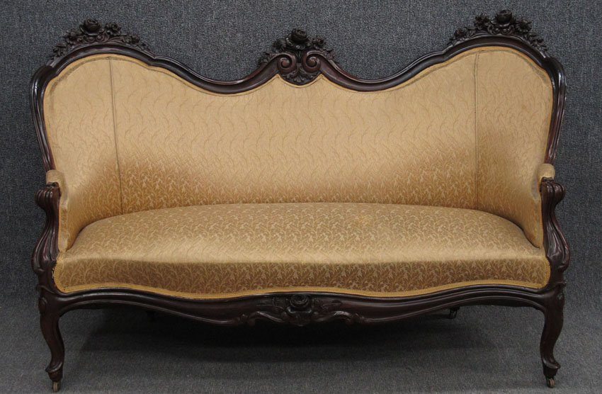 """9190: AMERICAN ROSEWOOD ROCOCO COUCH height- 47"""", width"""