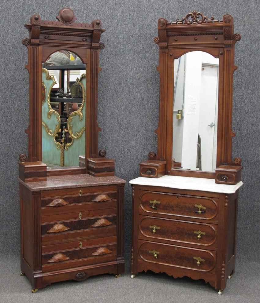 9193: LOT OF (2) WALNUT MARBLE TOP COMMODES