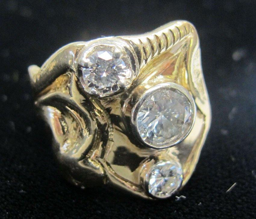 9178: MANS 14KT YELLOW GOLD DIAMOND RING appraised valu