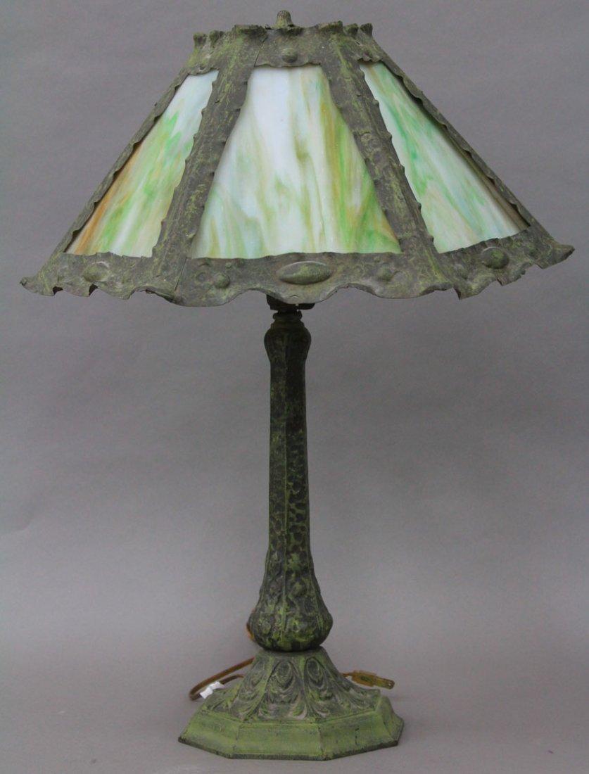 ARTS AND CRAFTS SLAG GLASS PARLOR LAMP diameter