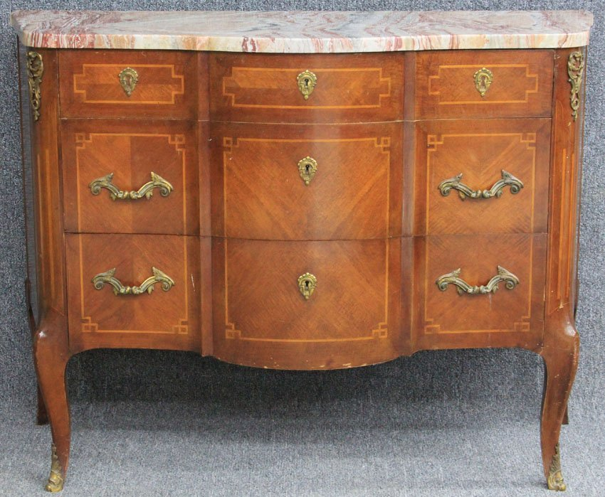 FRENCH INLAID MARBLE TOP DRESSER circa 1930's h