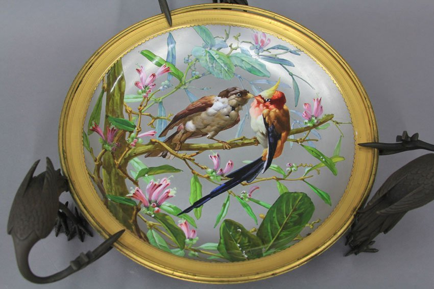 ROYAL VIENNA PAINTED PLATE with bronze bird mou