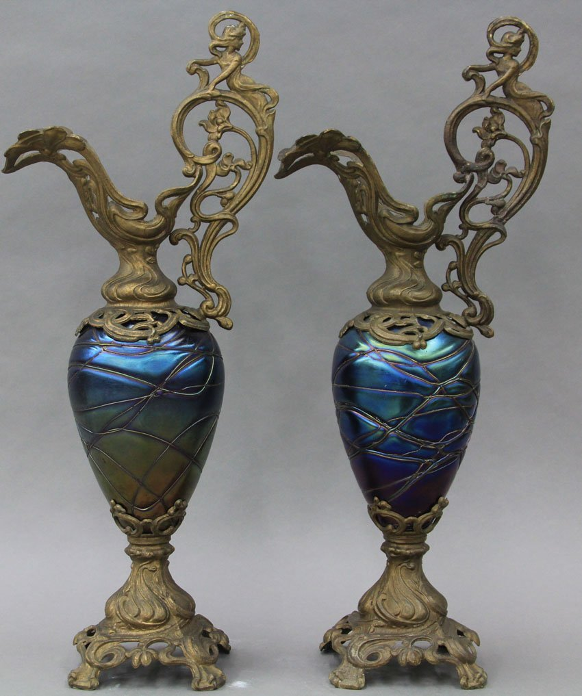 PAIR OF ART NOUVEAU URNS with gilt metal height