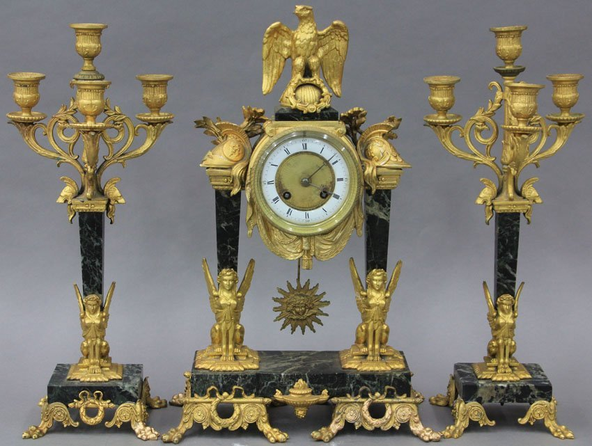 FRENCH EMPIRE THREE PIECE MARBLE AND GILT METAL