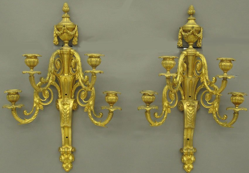 PAIR OF FRENCH BRONZE ROCOCO STYLE CANDLEABRAS