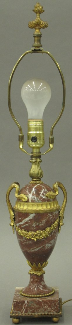 FRENCH ROUGE MARBLE LAMP with gilt metal mounts