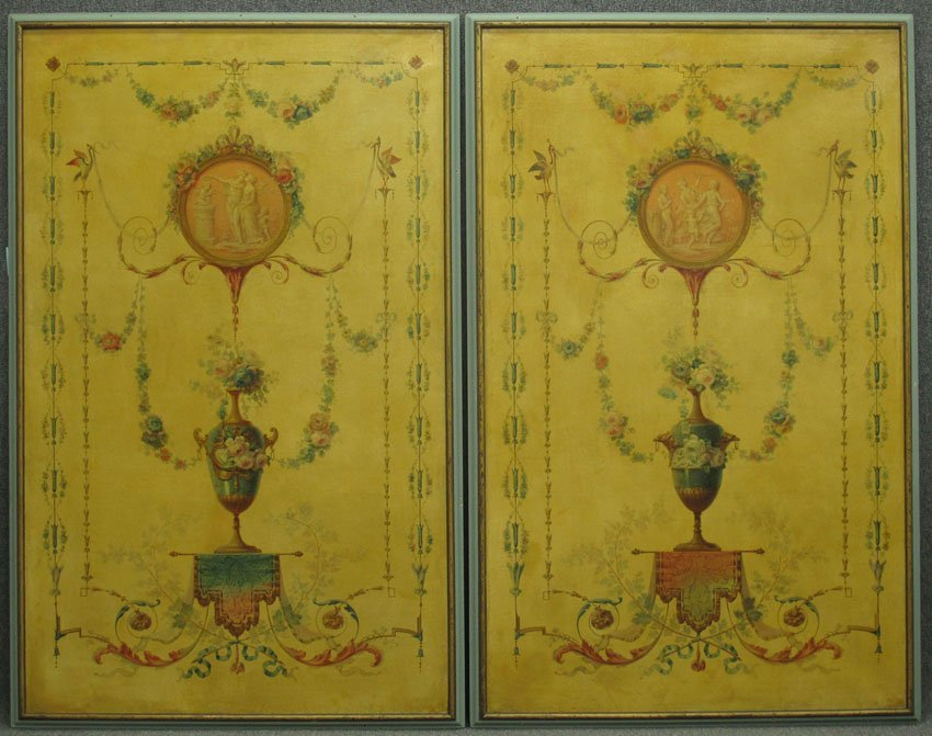 PAIR OF FRENCH OIL ON CANVAS WALL PANELS, now f